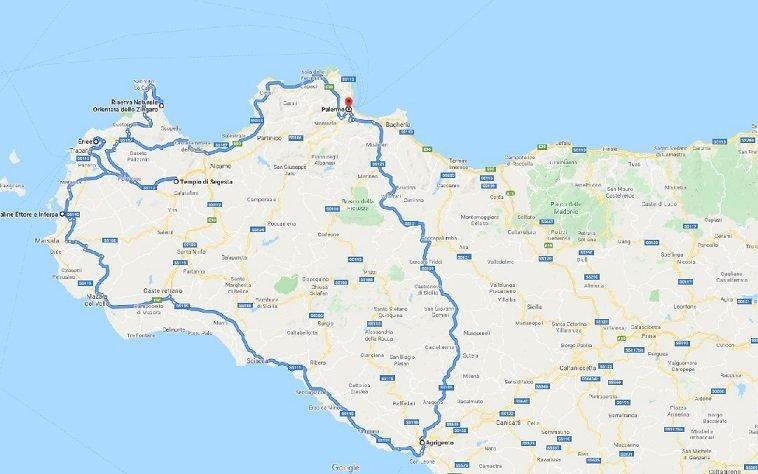 Sicilia Occidentale Cartina Stradale.Tour Della Sicilia In Auto La Parte Occidentale Tour Of Sicily