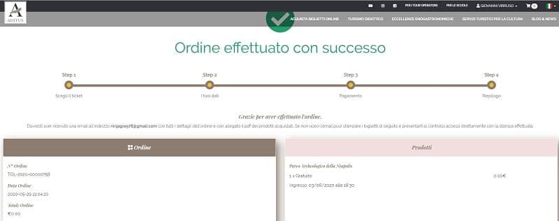 Riepilogo Acquisto Biglietto Museo Sicilia