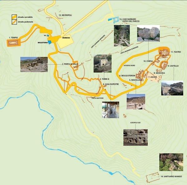 La Mappa Di Segesta Con I Principali Monumenti